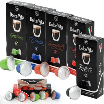 Dégustation  café Dolce Vita, compatible Nespresso 10 Ristretto10 Intenso10 Gran Crema10 Gran gusto10 Déca