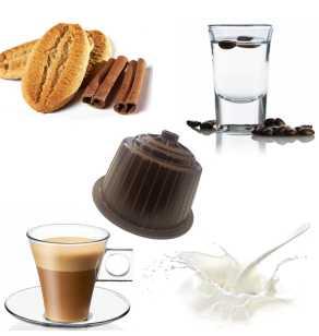 Dégustation Dolce Gusto GOURMET BROWN 1 compatible Dolce Gusto de 64 capsules-16 Lait écrémé –16 Cortado (Café au lait) –16 Cappuccino Biscuit et Cannelle–16 Café et Sambuca (Anis)